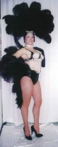 Black fan styled two piece Showgirl with rhinestone bra and headpiece - American Costumes Las Vegas