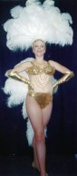 Gold and White Las Vegas Showgirl Costume Bikini and Fan - American Costumes Las Vegas