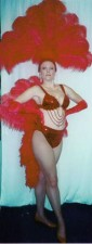 Las Vegas Costumes  Lady in Red Las Vegas Showgirl Costume with Bikini and Fantailan - American Costumes Las Vegas