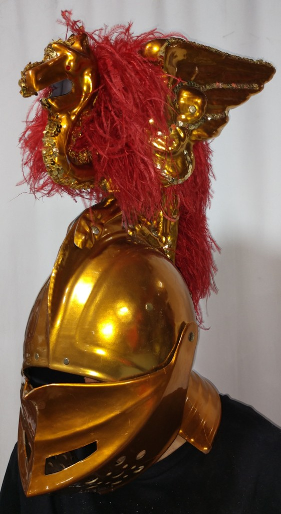 Roman Centurian Gold Helmet Close-up - American Costumes Las Vegas