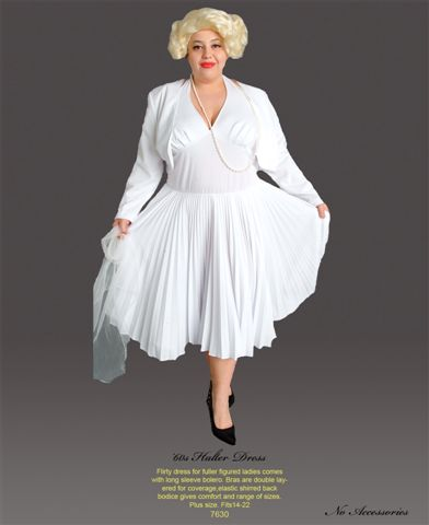 White Marilyn Costumes With Halter Top  Plus Size - American Costumes Las Vegas