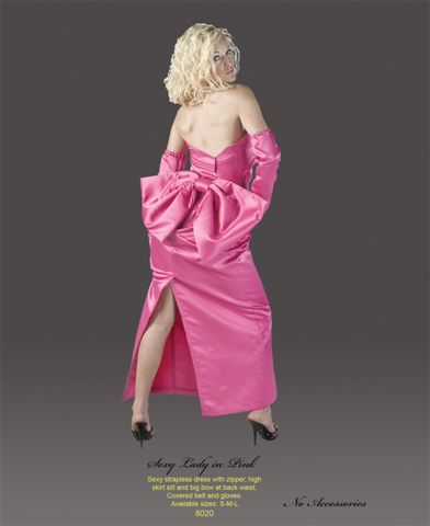 Hot Pink Marilyn Costumes With Gloves Backside - American Costumes Las Vegas