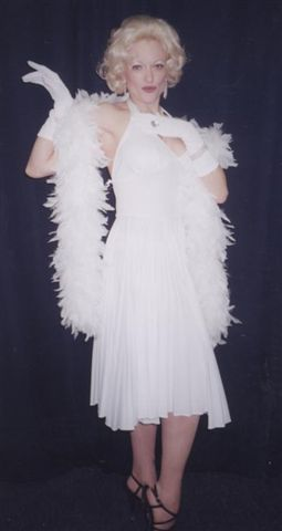 White Marilyn Costumes With Halter Top and Boa - American Costumes Las Vegas