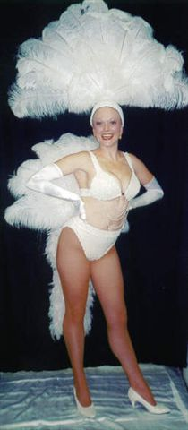 Las Vegas Costumes  Las Vegas Showgirl Costumes Bridal style White Bikini and Fan - American Costumes Las Vegas