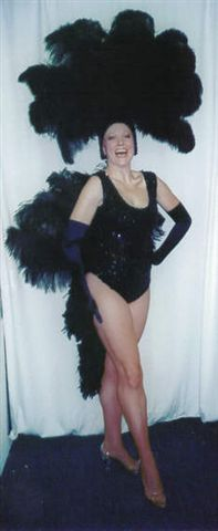 Black Las Vegas Showgirl Costumes One Piece and Fan - American Costumes Las Vegas
