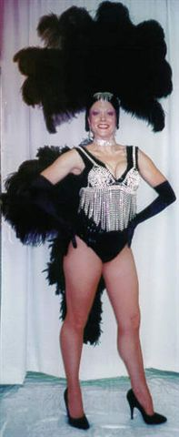 Las Vegas Costumes, Las Vegas Showgirl Costume Black with rhinestone necklace - American Costumes Las Vegas