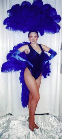 Las Vegas Costumes  Las Vegas Showgirl Costumes in Royal Blue one Piece and Fan - American Costumes Las Vegas