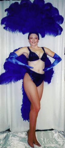 The Royal Blue Las Vegas Showgirl  bikini and fan - American Costumes Las Vegas