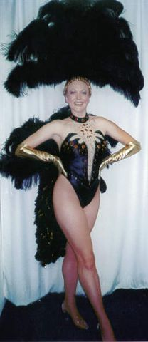 Las Vegas Costumes, Las Vegas Showgirl Costumes Black with red stones - American Costumes Las Vegas