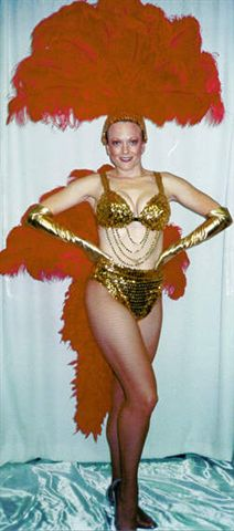 Red and Gold Las Vegas Showgirl Costume Bikini and Fan - American Costumes Las Vegas