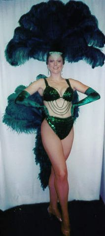 The Emerald Green Las Vegas Showgirl Costume Bikini and Fan - American Costumes Las Vegas