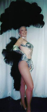 Las Vegas Costumes Black and Silver Bikini Las Vegas Showgirl  and Fantail - American Costumes Las Vegas