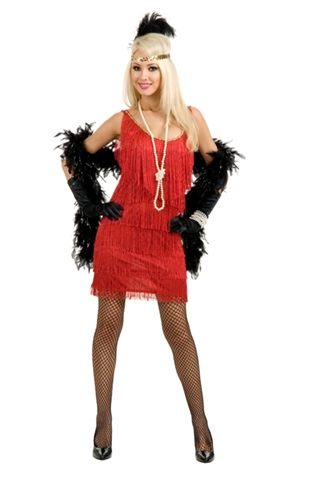 Twenties Costumes Red Fringed Flapper   - American Costumes Las Vegas