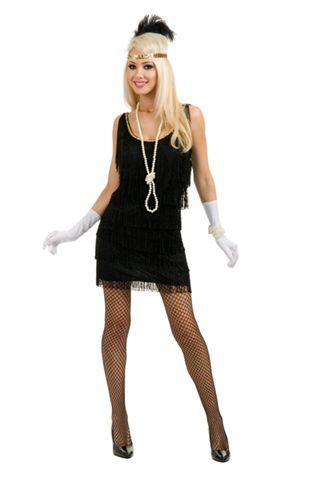 Twenties Costumes Black Fringed Flapper - American Costumes Las Vegas