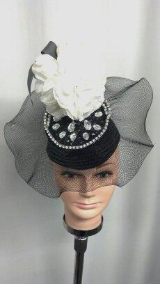 Costumes Las Vegas Black Netted Hat with Clear Stones - American Costumes Las Vegas